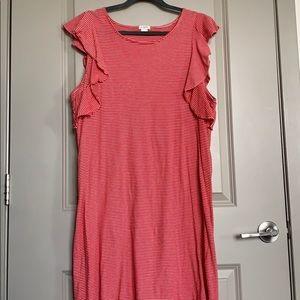 J. Crew Dresses - Jcrew T-shirt red/white ruffle dress